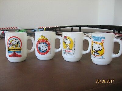 Four 1980 Snoopy For President Mugs - Complete Set - Excellent Condition