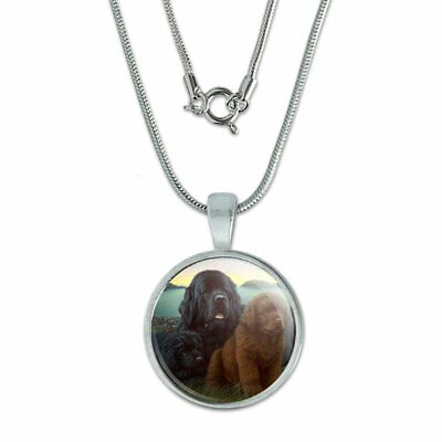 """Newfoundland Dogs Puppies Countryside 0.75"""" Pendant w/ Silver Plated Chain"""