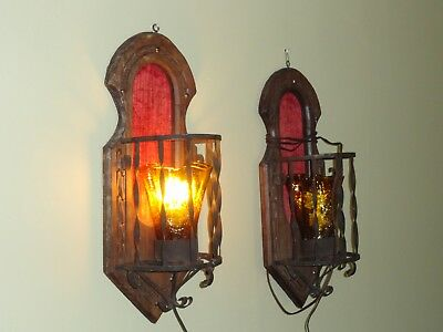 Spanish Antique Vintage Pair of Wooden Sconces Wall Light Gothic Church Medieval