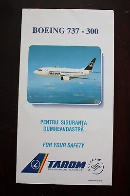 Safety Card Tarom Romanian Air Transport Boeing 737-300