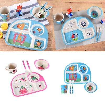 Toddler Children's Cartoon Divided Tray Dinner Divider Plate Spoon Fork Cup