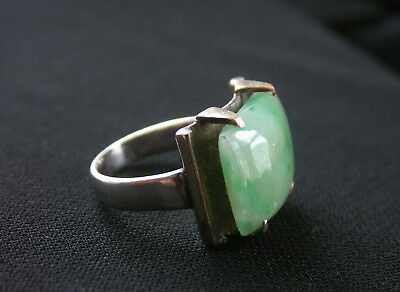 Antique Silver and Gold Jadeite Jade Ring