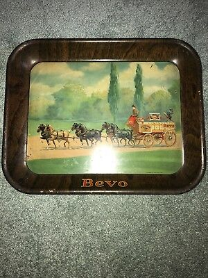 Bevo Anheuser-Busch Beer Metal Tray Pre Prohibition Horse Buggy Wagon Breweriana