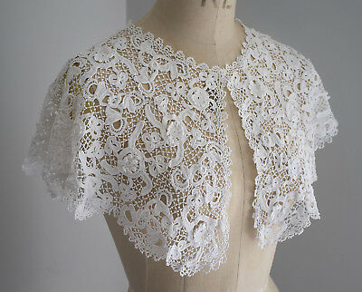 Antique white crochet lace collar.