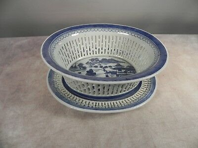 Antique Outstanding Chinese Export Canton Pierced B/W Fruit Basket w/ under Tray