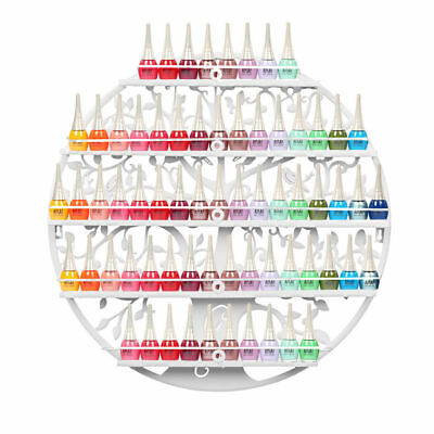 White Metal Wall Mounted Nail Polish Hold Display Shelf Rack Organizer W/5 Tiers