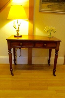 Antique Victorian Vintage Mahogany Wooden Desk Dressing Console Table & Drawers