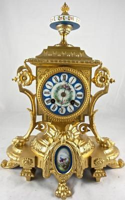 Antique French 19th c 8 Day Bell Mantle Clock with Beautiful Sevres Porcelain