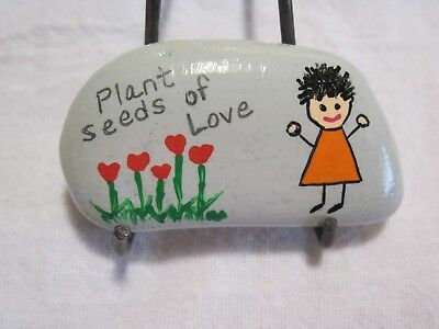 Hand Painted Plant Seeds of Love Painted River Rock Original Folk Art