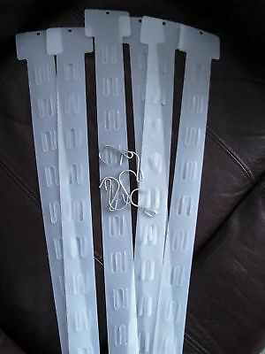 LOT 15 Hanging Merchandising Strip Display Plastic Clip Strips with hooks- NEW