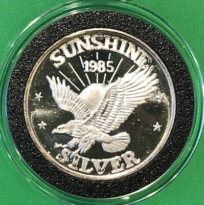 1985 Sunshine Mining Mint Proof Like 1/2 Troy Oz .999 Fine Silver Round Medal