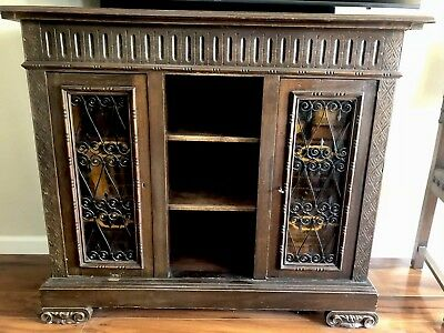 ANTIQUE Solid Carved Wood Console with two locking cabinet doors.