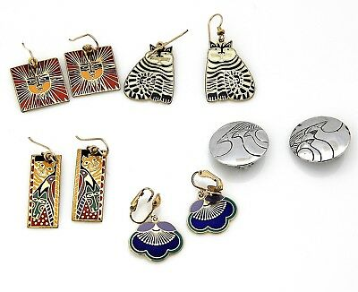 Lot Of 5 Pairs Of Laurel Burch Gold And Silver Tone Dangle Earring Lot AS2442