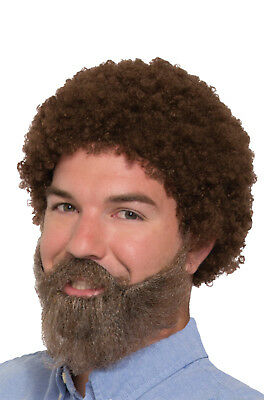 Bob Wig Beard And Moustache 80s Joy Of Painting Painter Costume Afro Fro Gray
