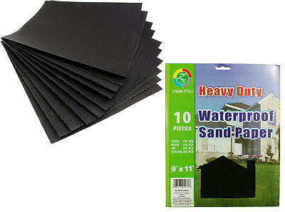 """SANDING SHEETS Wet/Dry Silicon Carbide Waterproof Sandpaper Assorted Grits 9""""x11"""