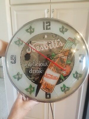"Rare Vintage 1956 Orange Nesbitt's Soda Pop 15"" Lighted Metal Clock Sign"