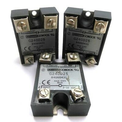 Lot of 3 Crouzet G240D25 Solid-State Relay, Control: 3-32VDC, Output: 24-280VAC