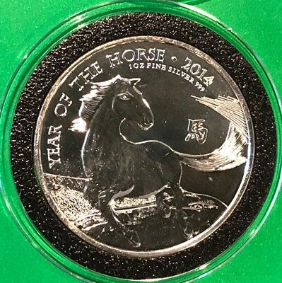 2014 Year Of The Horse 1 Troy Oz .999 Fine Silver Round Collectible UK 2£ Coin