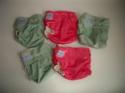 Lot of 5 #2 Cloth Diapers AIO Katydid Snap Pocket One Size 8-35 lbs Pink Mint