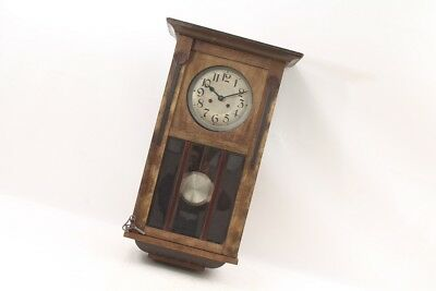 Beautiful Old Wall Clock, Clock Wood Casing Cult Retro Old Vintage