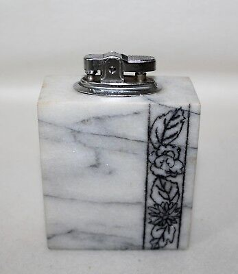 Stunning Vintage White & Gray Marble With Black Leaves Art Deco Table Lighter