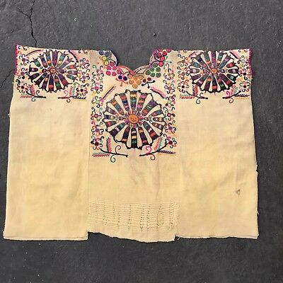 Vintage Embroidered Chichicastenango Guatemalan Huipil Unusual colors Sun motif