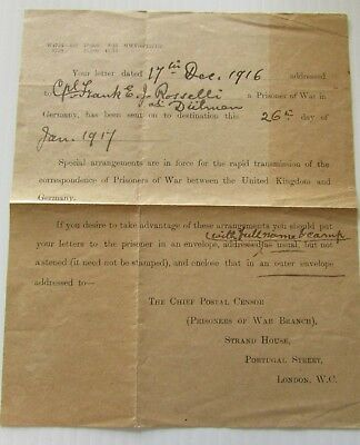 1916 Great Britain redirected Prisoner of War letter to POW camp in Germany F