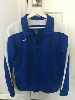 Nike youth XL blue and white dri-fit track jacket