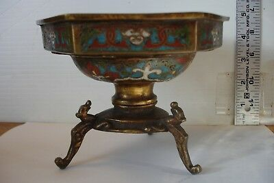 Antique Signed Bronze Bowl Sensor 2 pc Octagon 3 Dragon Feet Cloisonne Enamel
