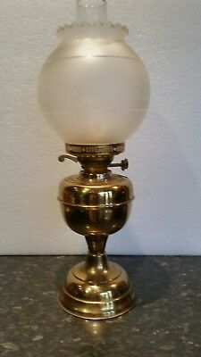 Duplex oil lamp with etched shade