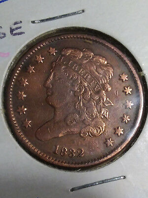 "1832 Half Cent Classic Head MI29 F/VF TUCK"" RARE ONLY 51K MADE FREE FAST SHIP"