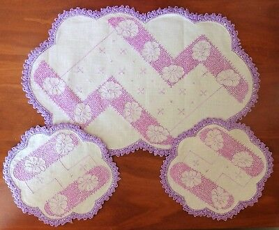 Vintage Lavender Handmade Embroidered Doily Set 3