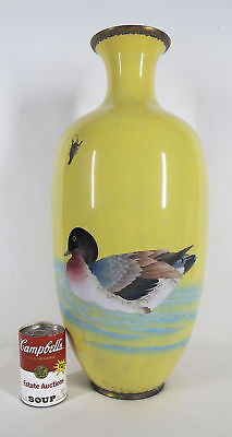 "Large! Antique Japanese Cloisonne 21"" Tall Swimming Duck Yellow Floor Vase  yqz"