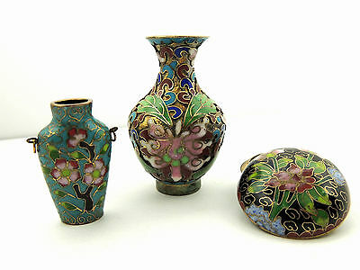 Group of THREE (3) CHINESE Miniature CLOISONNE - 2 VASES & PASTE BOX