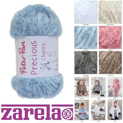 Peter Pan Precious Chunky Fur Wool Yarn 50g  ***ALL COLOURS***
