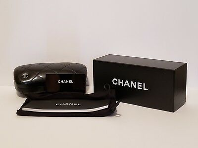 Authentic Chanel Quilted Medium Black Leather Eyeglass/sunglass Case, With Box.