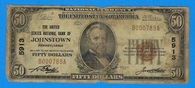 1929 Fifty Dollar $50 National Currency Johnstown Pennsylvania Charter 5913 Note