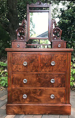 Superb Birdseye Huon Pine Duchess Chest Of Drawers C1890 Melb Delivery Available