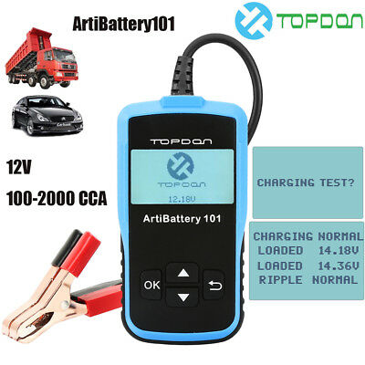 TOPDON ArtiBattery101 12V 100-2000 CCA Car Battery Tester Cranking Charging Test