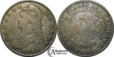 1820/19 50c Capped Bust Half Dollar VF-F+ CURL BASE 2 rare old silver type coin