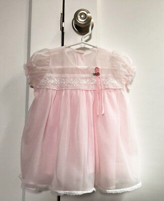 Beautiful Vintage Sheer Pink Baby Dress Size 18 Months from 1968