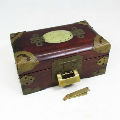 A131: Chinese accessories case of wooden ware with copper ornaments and lock