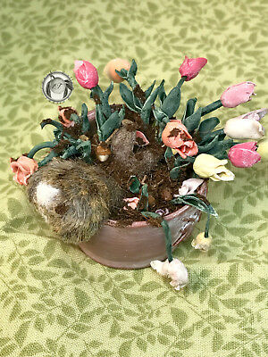 OOAK Handmade Dollhouse Miniature Realistic Cottontail Bunny & Tulips Sculpture