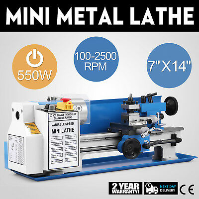 550W Precision Mini Metal Lathe Metalworking Readout Bench Top Variable Speed