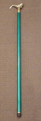 Brass Mermaid Antique/Vintage Cane Green Wood Shaft Walking Stick with Knife