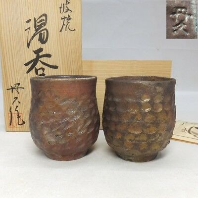 A156: Japanese TANBA pottery pair of tea cup with good work by Tankyu kiln