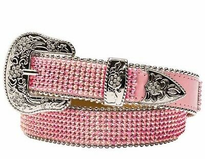 "NWT Angel Ranch Cowgirl Western Pink Rhinestone Belt Girls Xl 29"" A1169"