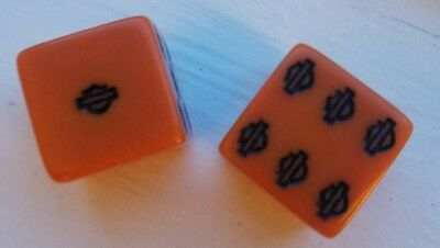 Harley Davidson Logo Dice Pair - Rare Orange Color - Never Used - FREE SHIPPING