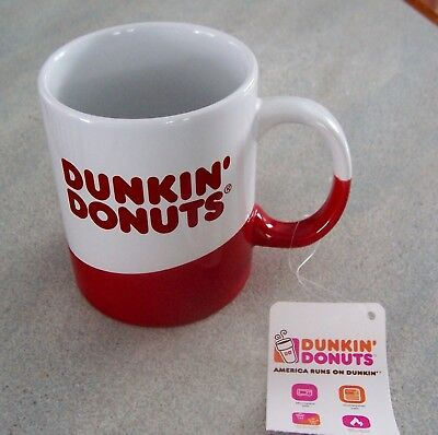 DUNKIN DONUTS - 12fl ozs ceramic Logo RED Collectors mug  2017 COLLECTION