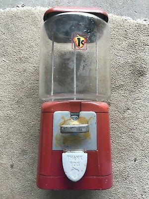 VINTAGE LARGE METAL GLASS OAK MFG. gumball vending machine One 1 Cent ACORN